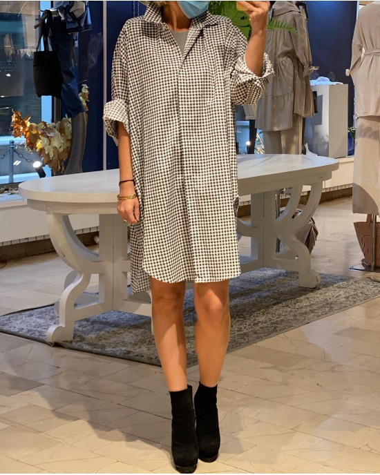 Arles Black Plaid Dress