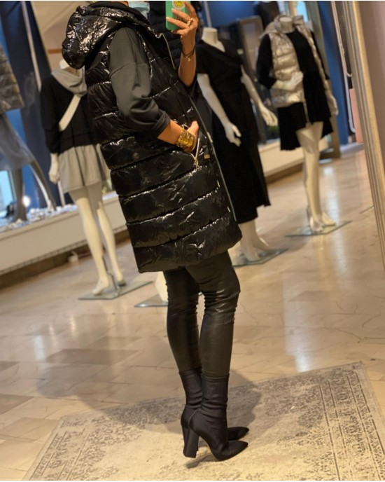 Silvery Black Long Vest