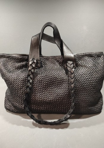 Black Woven Leather Bag