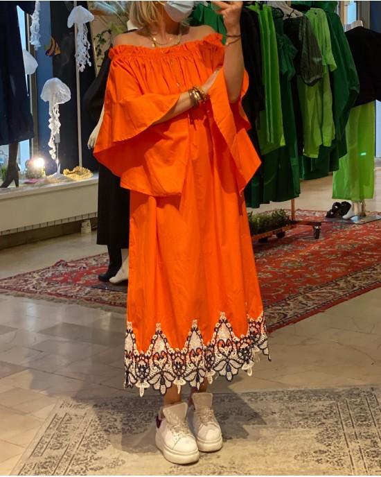 Long  Lace Orange Dress